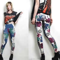 90s Vintage Leggings FLORAL Abstract print GRUNGE vtg Pants Tights xxs xs s