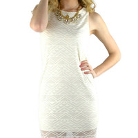 Sleeveless Lace Overlay Midi Dress - Ivory