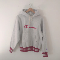 Vintage CHAMPION Reverse Weave Hooded Sweatshirt Hoodie - Small