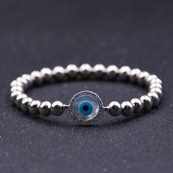 ESB 6mm Beads Hand String Micro Zircon Eyes Beaded Bracelet Strand Bracelets Mens Bracelets 2018 Silver Bracelet Gold For Women