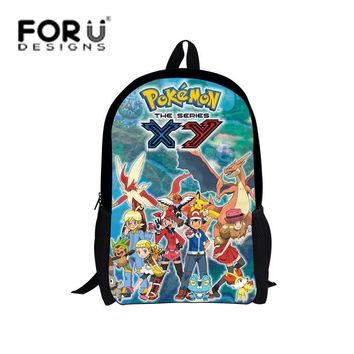 FORUDESIGNS Cartoon Children Boys  Backpack for Primary Kids Bagpack Cute Character High School Student Child BookbagKawaii Pokemon go  AT_89_9