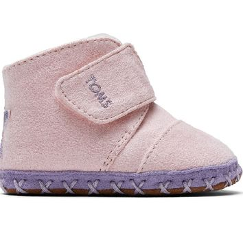 TOMS - Tiny Toms Cuna Pink Microsuede Star Applique Crib Shoes