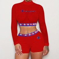 Champion Summer Fashion Women Sexy Print Long Sleeve Top Shorts Set Two-Piece Sportswear Red