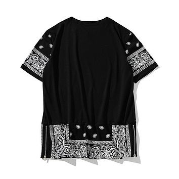 Coast hip hop Paisley print Cross pattern side zipper t shirt