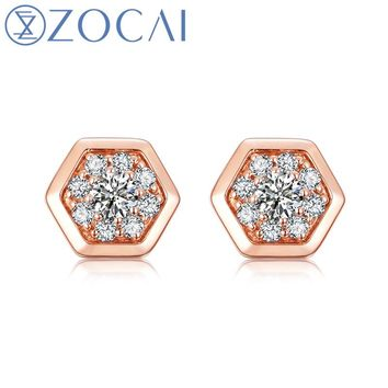 18KT Rose Gold The Honeycomb Series Real 0.14 CT Diamond Stud Earrings