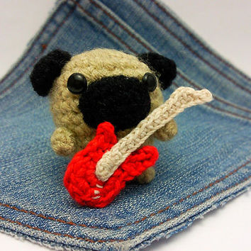 Amigurumi Pug,crochet Pug dog with an electric guitar, Puppy Dog toy, Pug plushie+electric guitar. Pug toy