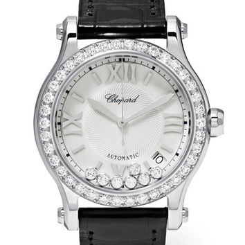 Chopard - Happy Sport 36mm stainless steel, alligator and diamond watch