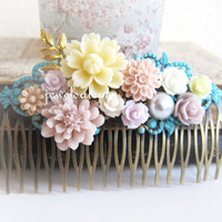 Wedding Hair Comb Floral Bridal Head Piece Ivory Cream Blush Pink Turquoise Blue Soft Lilac Mauve Pastel Colors Flower Bridal Vintage Style