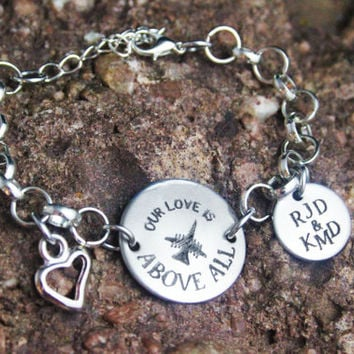 Personalized Air Force Girlfriend Wife Bracelet - Air Force Bracelet - Air Force Jewelry- Personalized Engraved Jewely