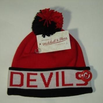 Mitchell and Ness NHL New Jersey Devils 2 Tone Cuffed Knit Pom Beanie Cap with Pin