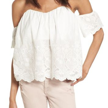 4SI3NNA Embroidered Off the Shoulder Top | Nordstrom