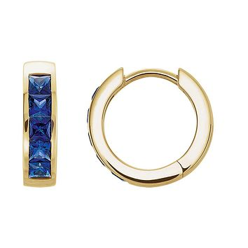 3.6 x 14mm 14k Yellow Gold Created Blue Sapphire Hinged Hoop Earrings