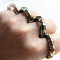 Steampunk Dragon Ring - Industrial Modern Design - Trendy Cool Beaded Ring - Flexible Mixed Metal Ring - Snake Ring - Lizard Ring