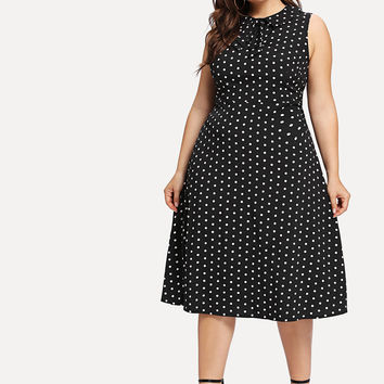 Plus Polka Dot Bow Detail Dress