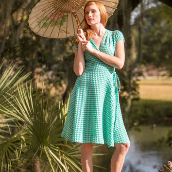 Bandstand Wrap Dress Green
