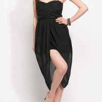 Black Strapless Dress - Open Front Strapless Wrap Chiffon | UsTrendy