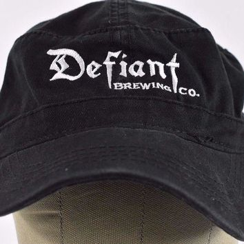 ICIK4S2 Black Defiant Brewing Co Pearl River NY Embroidered Cadet hat cap Adjustable