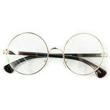 Retro Vintage Gold/Black Circle Glasses