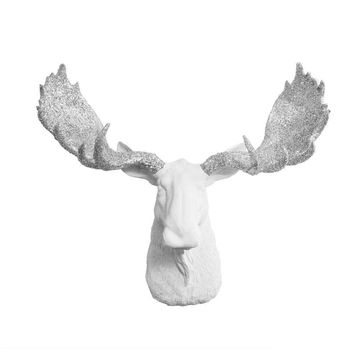 The Alberta | Moose Head | Faux Taxidermy | White + Silver Glitter Antlers Resin