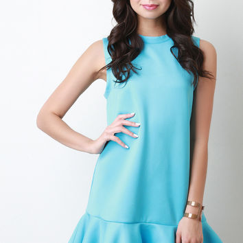 Sleeveless Round Neck Peplum Hem Mini Dress