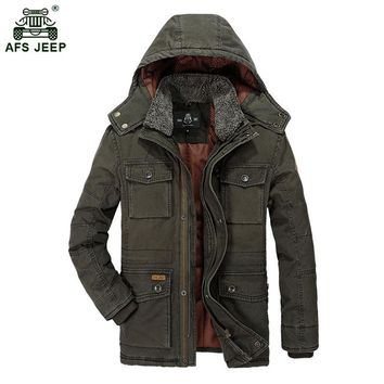 Men Jacket 2017 Winter Fur Hooded Thick Coat Warm Cotton-Padded Jackets Men Fashion Casual Military Parka Men Size M-3XL 190wy