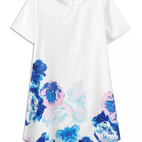White Floral Short Sleeve Shift Mini Dress