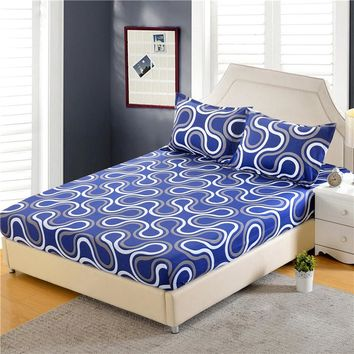 1pc 100%Polyester Fitted Sheet Mattress Cover Printing Bedding Four Corners With Elastic Band Bed Sheet 160cm*200cm