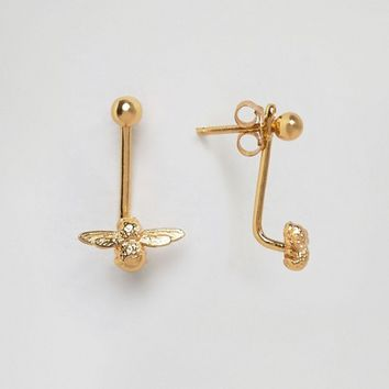 Olivia Burton Gold Plated Moulded Bee Through & Through Earrings at asos.com
