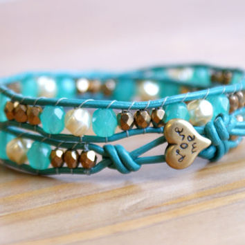 Green and Bronze Pearl Beaded leather wrap bracelet, Bohemian wedding, boho chic, gift idea, silver heart, trendy jewelry, hipster