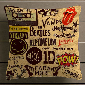 5sos One Direction Pow Quote Square Pillow Case Custom Zippered Pillow Case  One Side And Two