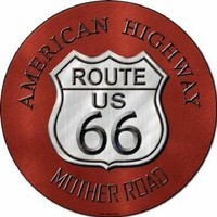 Red Route 66 American Highway Mother Road Circular Sign