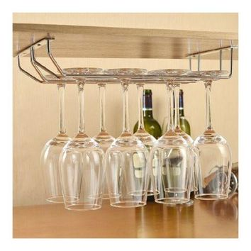Stainless Steel  Iron Wine Glass Stand Hanging Beverage Holder with 4 row