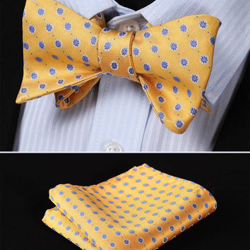 BF2020Y Yellow Blue Floral 100%Silk Jacquard Woven Men Butterfly Self Bow Tie BowTie Pocket Square Handkerchief Hanky Suit Set