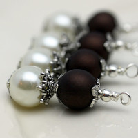Vintage Style Bead Dangle Charm Drop Set in White Pearl and Dark Chocolate Brown Beads
