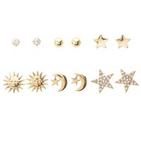 Gold Celestial Stud Earrings - 6 Pack by Charlotte Russe