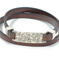 Women engraved leather bracelet * women leather bracelet * flower engraved bracelet * brown wrap leather bracelet * gift for mom