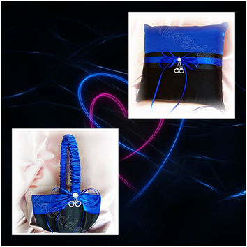 Thin blue line police wedding pillow and basket with handcuff charms, royal blue and black wedding ring bearer pillow and flower girl basket
