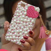 pearl assemble iphone 4 case, iphone cases iphone cover skin iphone 5 case - lovely tassel iphone 4s case