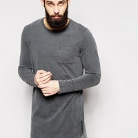 ASOS Super Longline Long Sleeve T-Shirt In Acid Wash With Side Zips