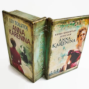 Anna Karenina box book, Leo Tolstoy, Wooden Storage Box, Decoupage Box, Wooden jewelry box, Box Womens, book lover, Classic Literature box
