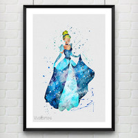 Cinderella Disney Watercolor Art Print, Princess Room Wall Poster, Baby Nursery Wall Art, Home Decor Not Framed, Buy 2 Get 1 Free! [No. 126]