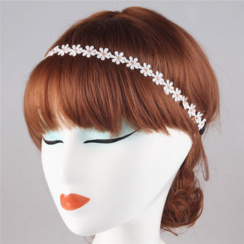 Boho Style Crochet Headband Daisy White Lace Floral Crown Chain Garland Girls Hairband Hair Accessories PY021
