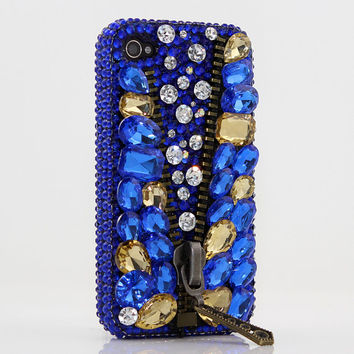 iphone 5 5S 5C 4/4S - Samsung Galaxy S3 S4 Note2 Note 3 -Handcrafted Case Cover 3D Luxury Bling Crystal Diamond Blue Zipper Treasure Gem_417