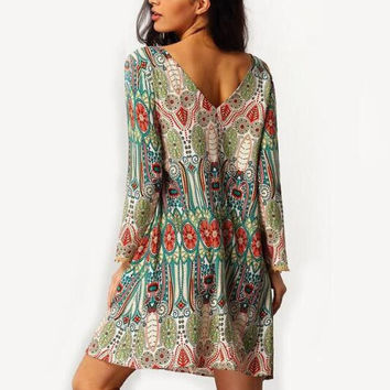 Retro Tribal Print Loose Dress 12615