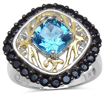 Two Tone Plated 2.85 Carat Genuine Black Spinel & Blue Topaz .925 Sterling Silver Ring