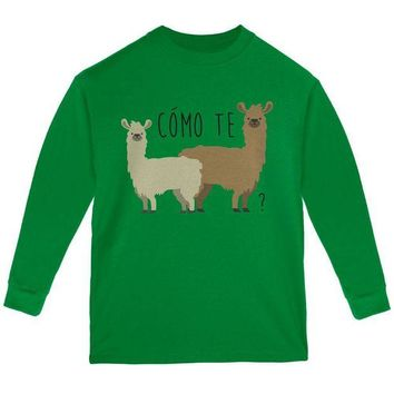 DCCKJY1 Como Te Llamas Funny Llama Pun Youth Long Sleeve T Shirt