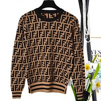 Fendi high quality new fashion more letter print long sleeve top knit sweater women Coffee