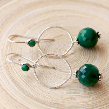 Emerald Silver Earrings, Organic shape sterling silver hoops with Genuine Emerald beads. May Birthstone gift, Long sterling silver earrings