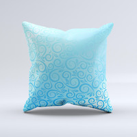 Bright Blue Vector Spiral Pattern ink-Fuzed Decorative Throw Pillow