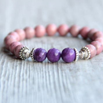 Pink bracelet Rhodonite beads Gift for wife Present for sister For her Gift for women Bracelet for ladies Stretch bracelet Gift for friend